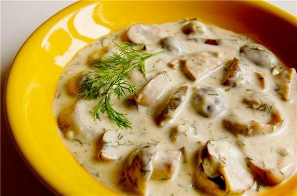 Белые грибы в сметанном соусе