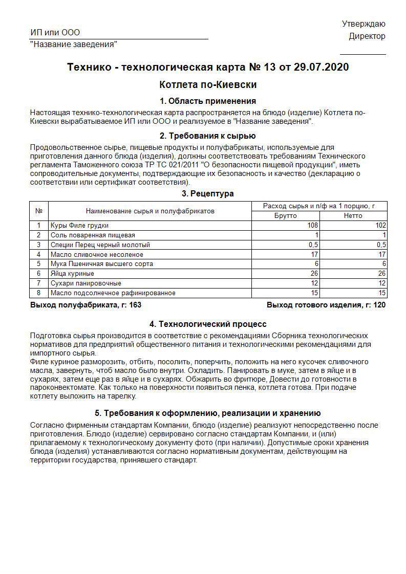 технологическая карта котлета по-Киевски